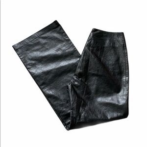 Black Leather High Waisted Wide Leg Pants